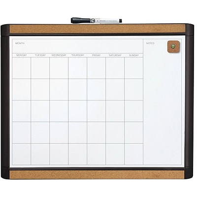 U Brands Pin-It Magnetic Dry Erase Monthly Calendar Board 20 x 16 Black Frame