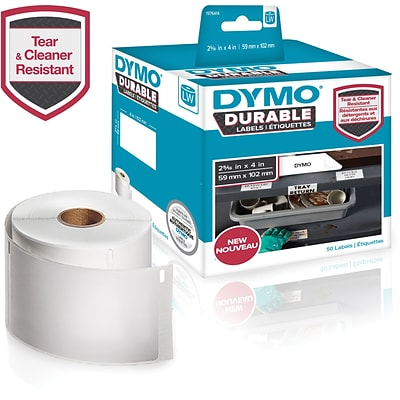 DYMO LW Durable Labels for LabelWriter Label Printers, White Poly, 2-5/16 x 4, Roll of 50 (1976414)