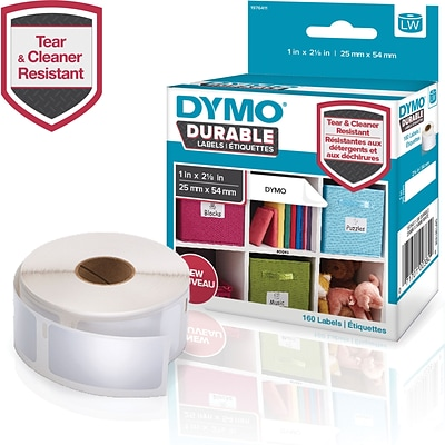 DYMO LW Durable Labels for LabelWriter Label Printers, White Poly, 1 x 2-1/8, Roll of 160 (1976411)