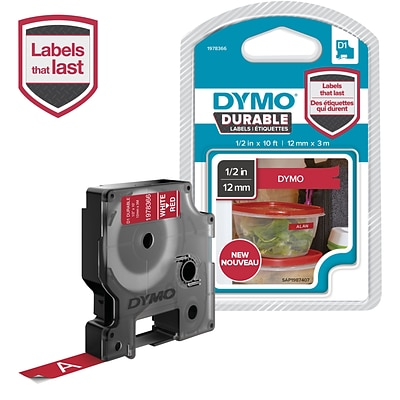 DYMO D1 Durable Labeling Tape for LabelManager Label Makers, White on Red, 1/2 W x 10 L, 1 Cartridge (1978366)