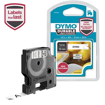 DYMO 1978364 1/2-Inch D1 Durable Label Tape, Black on White
