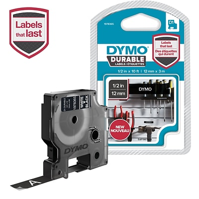 DYMO D1 Durable Labeling Tape for LabelManager Label Makers, White on Black, 1/2 W x 10 L, 1 Cartridge (1978365)