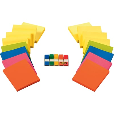 Post-it® Notes and Flags Combo, 3 x 3, Assorted Colors, 16 Pads/Pack, 1/2 Wide Flags w/ Dispenser (654-16SSCY-B)