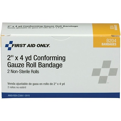First Aid Only® 2W, 1 Ply Conforming Gauze Roll Bandage, 2 Per Box (B204)
