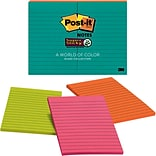 Post-it® Super Sticky Notes, 4 x 6, Miami Collection, Lined, 8 Pads/Pack (660-8SSMIA)
