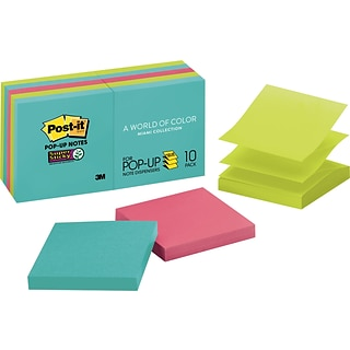 Post-it® Super Sticky Pop-up Notes, 3 x 3, Miami Collection, 10 Pads/Pack (R330-10SSMIA)