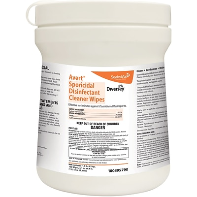 Diversey™ Avert™ Sporicidal Disinfectant Cleaner Wipes, 6 x 7, 160 Wipes/Pk, 12/CT