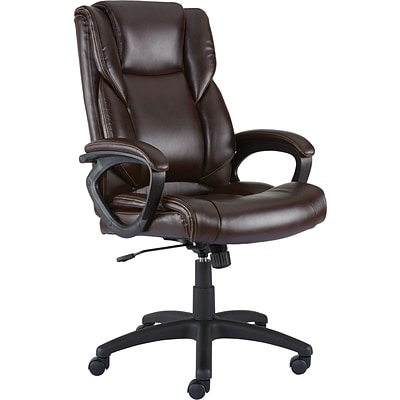 Quill Brand® Kelburne Luxura Faux Leather Computer and Desk Chair, Brown (50870)