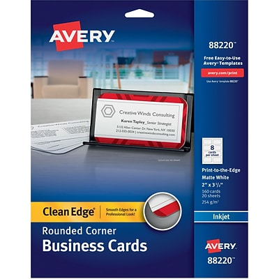 Avery Two-Side Rounded Corners Printable Clean Edge™ Business Cards, Inkjet, Matte White, 2 x 3 1/2, 160/Pk (88220)