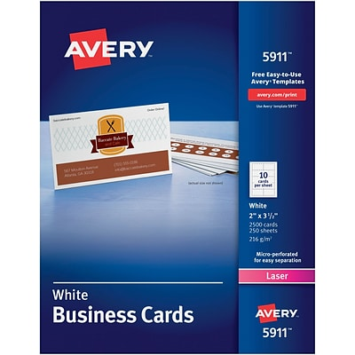 Avery® 5911 Laser Business Cards, White, 2 x 3 1/2, 2500/Pack