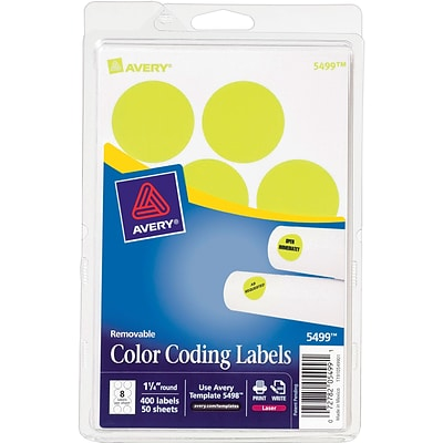 Avery 05499 Print Or Write Removable Color-Coding Label, Neon Yellow, 1 1/4(Dia), 400/Pack