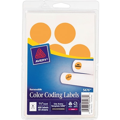 Avery  05476 Print Or Write Removable Color-Coding Label, Neon Orange, 1 1/4(Dia), 400/Pack
