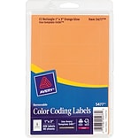 Avery Print/Write Removable Color-Coding Laser Labels, 5 Labels Per Sheet, Neon Orange, 1H x 3W, 2