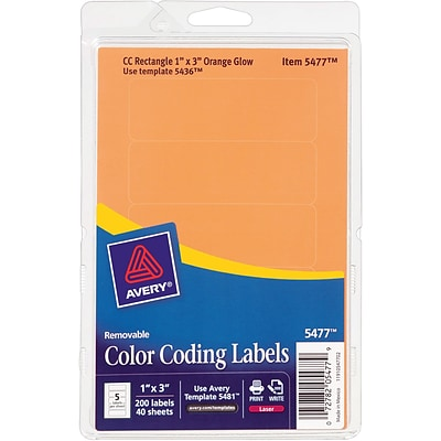 Avery Print/Write Removable Color-Coding Laser Labels, 5 Labels Per Sheet, Neon Orange, 1H x 3W, 200 Labels/Pk (05477)