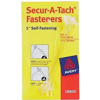 Avery Nylon Tag Fasteners, Clear, 5, 1000/Bx (18800)