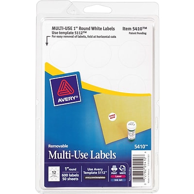 Avery® 05410 White Printable Removable Self-Adhesive MultiUse ID Label, 1(Dia), 600/Pack