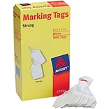 Avery® White Marking Tags, Strung, 1-3/4 x 1-3/32, Pack of 1000