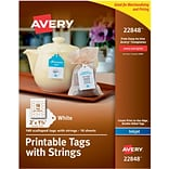 Printable Tags with Strings, Scallop, 2 x 1-1/4