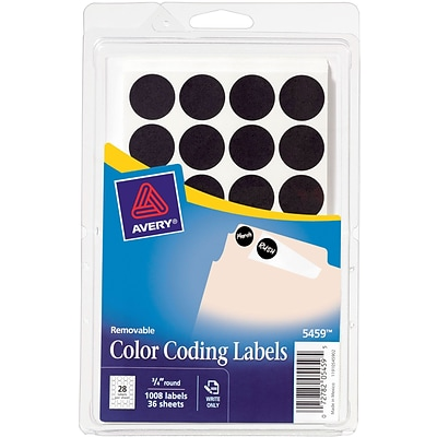 Avery Removable Self-Adhesive Color-Coding Round Labels, 28 Labels Per Sheet, Black, 3/4 Diameter, 1,000 Labels/Pk