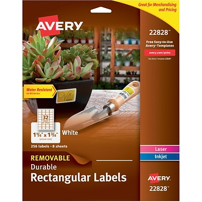 Avery TrueBlock Removable Durable Rectangular Labels, White, 256/Pack (22828)