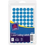 Avery ® 05050 Removable Self-Adhesive Round Paper Color-Coding Label, Light Blue, 1/2(Dia), 840/Pac