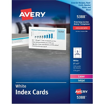 Avery® 3 x 5 Laser and Inkjet Index Cards, 150/Pack (5388)
