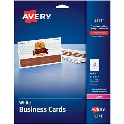 Avery®, Laser Business Cards, White, 2 x 3 1/2, 250/Cards