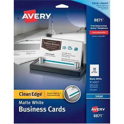 Avery® Clean Edge® Printable Inkjet Business Cards, 5.5 x 8.5, Matte White, 200/Pack (8871)