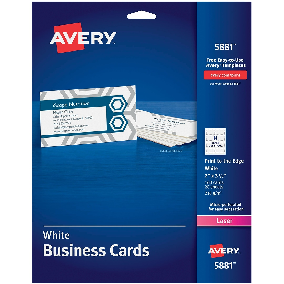 Avery Print To The Edge Color Laser Business Cards Quill
