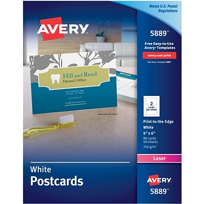 Avery®, Color Laser Postcards, 4 x 6 Uncoated