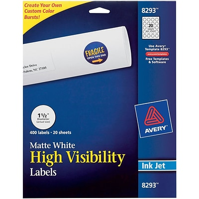 Avery ® 8293 White Print To The Edge Mailing Label, 1 1/2(Dia), 400/Pack