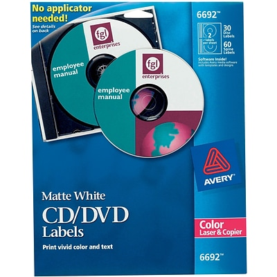 Avery 6692 Permanent Laser CD/DVD Labels, 30 Disk/60 Spine Labels, White