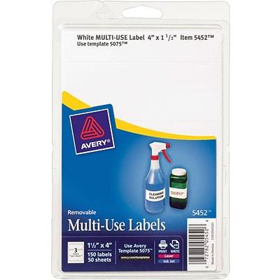 Avery 15 X 4 Inkjetlaser Removable Print Or Write Labels White