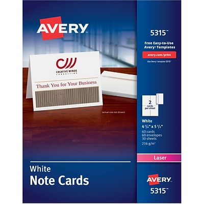 Avery®, Laser Notecards, White, Uncoated, 60 Pack
