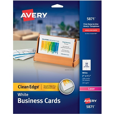 Avery® Clean Edge® Printable Laser Business Cards, 2 x 3.5, White, 200/Pack (5871)