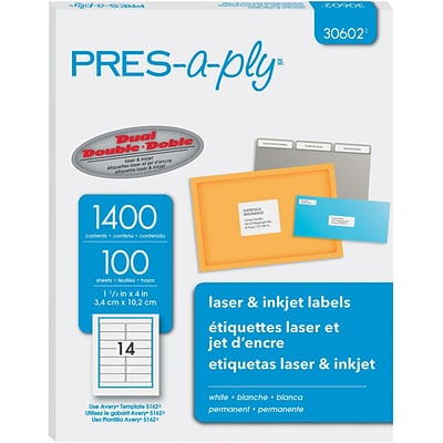 PRES-a-ply 1.33 x 4 Laser Address Labels, White 100/Pack (30602)