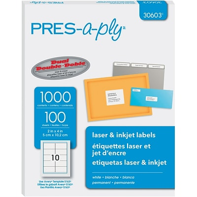 PRES-a-ply 2 x 4 Laser Address Labels, White, 100/Pack (30603)
