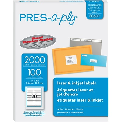 PRES-a-ply 1 x 4 Laser Address Labels, White, 100/Pack (30601)