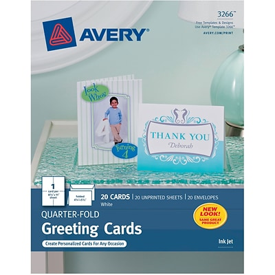 Avery®, Inkjet Quarter-Fold Cards, White, Matte, 4 1/4 x 5 1/2