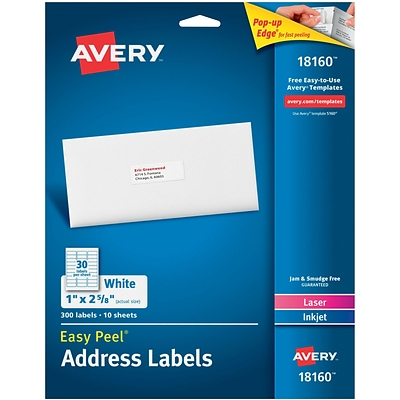 Avery 1 x 2.62 Laser Easy peel Address Labels, White, 10/Pack (18160)