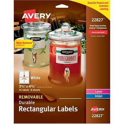 Avery® 22827 Removable Durable Rectangular Labels, White, 32/Pack