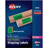 Avery(R) High Visibility Shipping Labels 05956, Neon Assorted, 2 x 4, Pack of 500