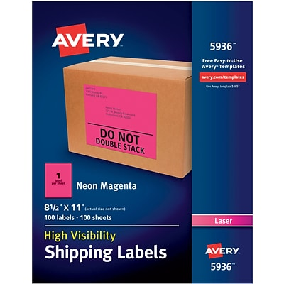 Avery(R) High Visibility Shipping Labels 05936, Neon Magenta, 8 1/2 x 11, Pack of 100