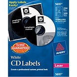 Avery® Matte White CD/DVD Paper Label, 250/Pack (AVE5697)