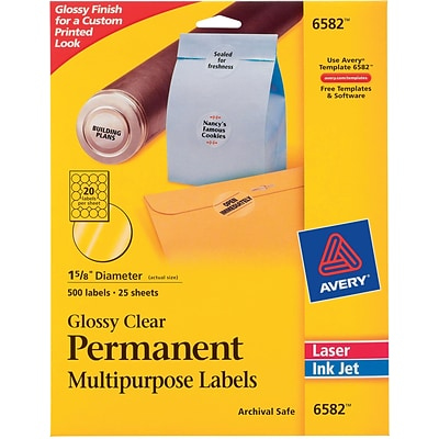 Avery 1.63 Dia. Inkjet/Laser Multipurpose Round Shipping Labels, Glossy Clear, 500/Pack (6582)