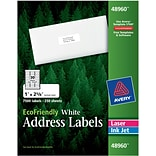 Avery® 48960 EcoFriendly White Inkjet/Laser Address Labels 1 x 2-5/8, 7,500/Box