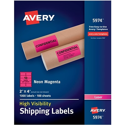 Avery(R) High Visibility Shipping Labels 05974, Neon Magenta, 2 x 4, Pack of 1000