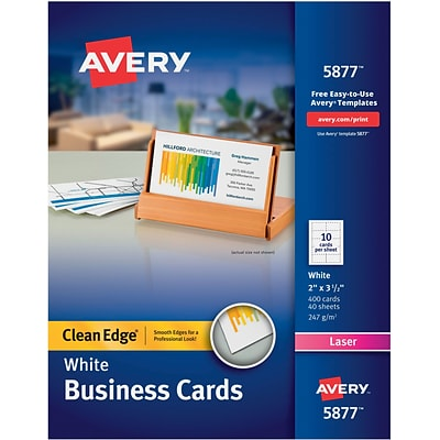 Avery® Clean Edge® Printable Color/Laser Business Cards, 2x 3.5, White, 400/Box (05877)