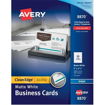 Avery(R) Two-Side Printable Clean Edge(R) Business Cards for Inkjet Printers 8870, White, Matte, Box of 1000