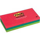 Post-it® Notes, 3 x 3, Cape Town Collection, Lined, 6 Pads/Pack